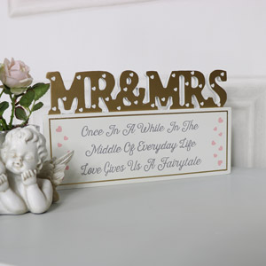 "Freestanding Plaque Mr & Mrs ""Once in a While...."""