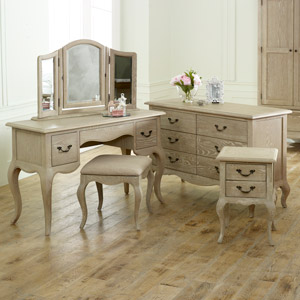 French Bedroom Furniture, Large Chest of Drawers, Dressing Table Set & Bedside Table - Brigitte Range