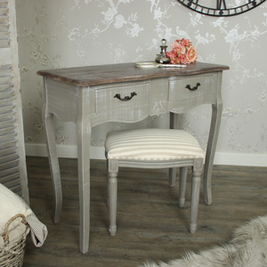 Two Drawer Dressing Table with Stool - French Grey Range