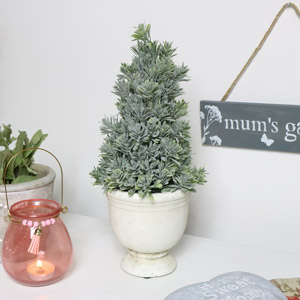 Frosted Christmas Tree in white stone pot