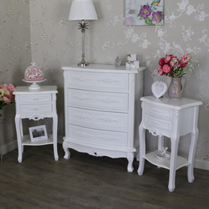 White Bedroom Set, Chest of Drawers & 2 Bedside Tables - Rose Range