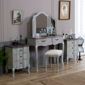 Furniture Bundle, Dressing Table, Stool, Triple Mirror and 2 Bedside Chests - French Grey Range