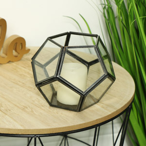 Geometric Glass Tealight Candle Holder