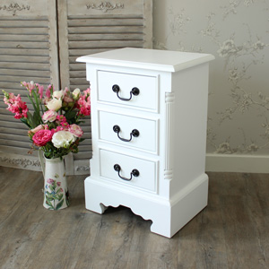 Georgiano Range - White 3 Drawer Bedside Table