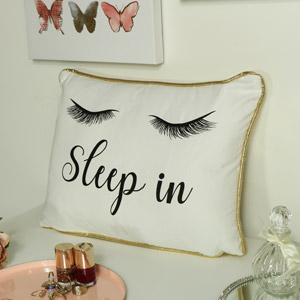 Glam White & Gold Eyelash Scatter Cushion