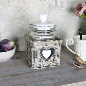 Glass Storage Jar in Wicker Holder