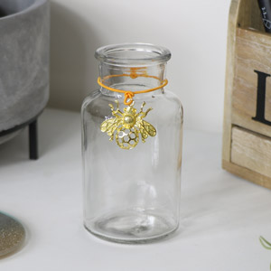 Glass Vase with Gold Bee Detail