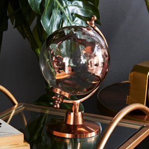Glass World Globe with Copper Base