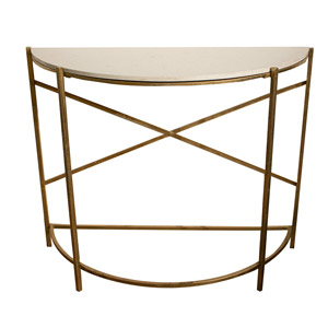 Gold & Marble Half Moon Console Table