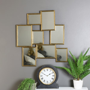 Gold Abstract Multi Frame Wall Mirror