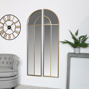 Gold Arched Window Mirrors 70cm x 150cm