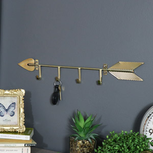 Industrial Gold Arrow Key Wall Hooks