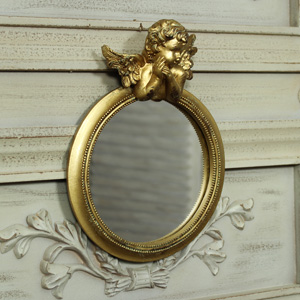 Gold Cherub Wall Mirror