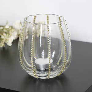 Gold Diamante Glass Tealight Holder