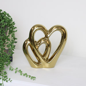 Gold Double Heart Ornament