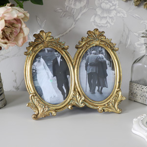 Gold Double Vintage Photograph Frames