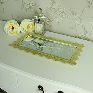Gold Edged Mirrored Display Tray