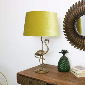 Gold Flamingo Lamp With Mustard Velvet Shade