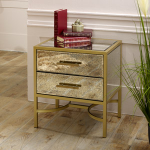 Gold Mirrored Bedside / Occasional Table  - Cleopatra Range