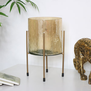 Gold Glass Candle Lantern on Stand