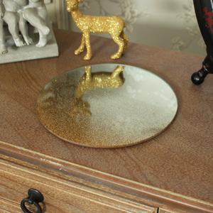 Gold Glitter Mirrored Plate/candle Place mat