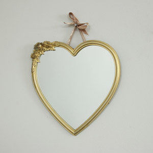 Gold Heart Wall Mirror