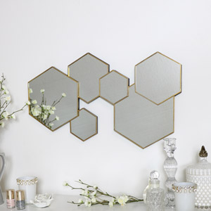 Gold Hexagon Wall Mirror 55cm x 32cm
