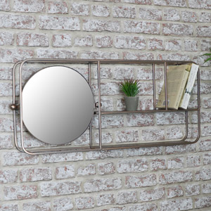 Brass Industrial Mirrored Wall Shelving Unit