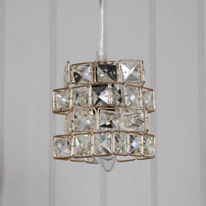 Gold Jewelled Cube Pendant Light