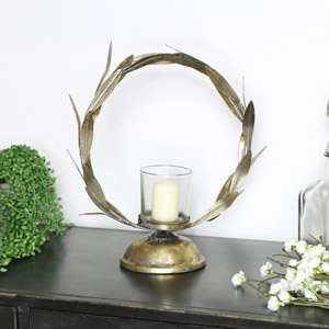 Gold Leaf Candle Holder
