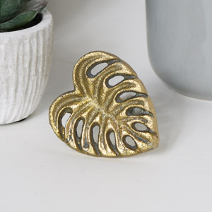 Gold Monstera Leaf Drawer Knob