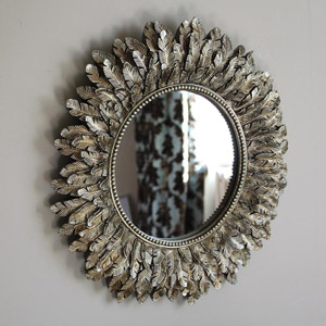 Gold Feather Effect Wall Mirror