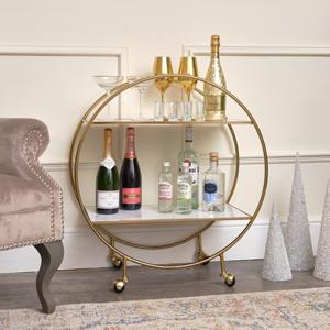 Gold & Marble Round Bar Cart