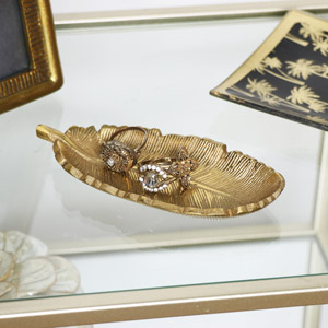 Gold Metal Feather Trinket Dish