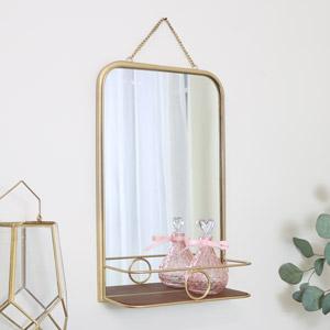 Gold Metal Hanging Mirror with Shelf 31.5cm x 50.5cm