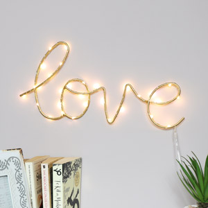 Gold Metal Light Up 'Love' Sign