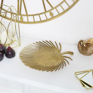 Gold Metal Palm Leaf Tray