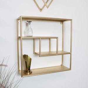 Gold Metal Square Multi Shelf