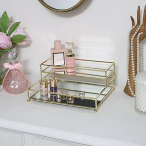 Gold Mirrored 2 Tier Storage Caddy