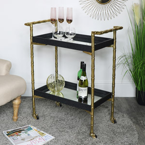 Gold Mirrored Bar Cart Drinks Trolley