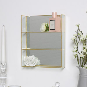 Gold Mirrored Shelving Unit