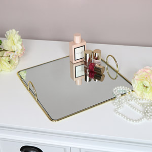 Gold Mirrored Square Tray