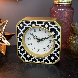 Gold Moroccan Style Mantel Clock