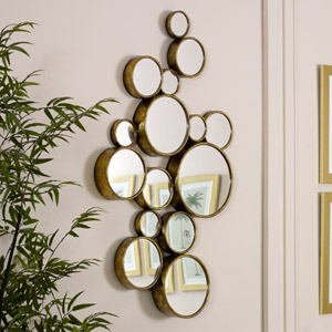 Gold Multi Circle Wall Mirror 61cm x 103cm