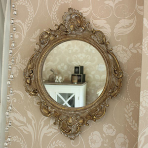 Ornate French Style Gold Wall Mirror 36cm x 46cm