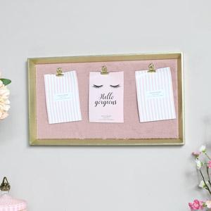 Gold & Pink Furry Memo Board