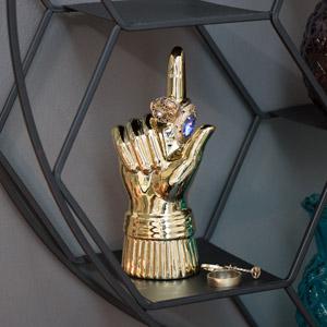 Gold Ring Finger Wall Mounted Hook / Ring Holder