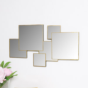 Gold Multi Square Wall Mirror