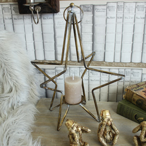Gold Star Standing Candle Holder