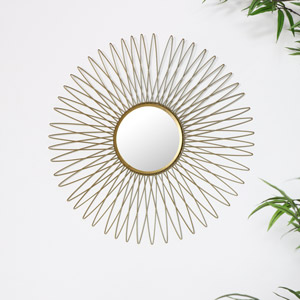 Antique Gold Sunburst Style Wall Mirror
